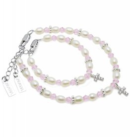 Infinity Mum & Me Christening Bracelet 'Infinity Pink' with Cross