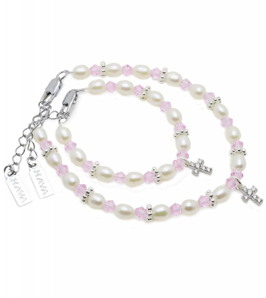 Infinity Beautiful Mum & Me Christening Bracelet 'Infinity Pink' with Cross Charm