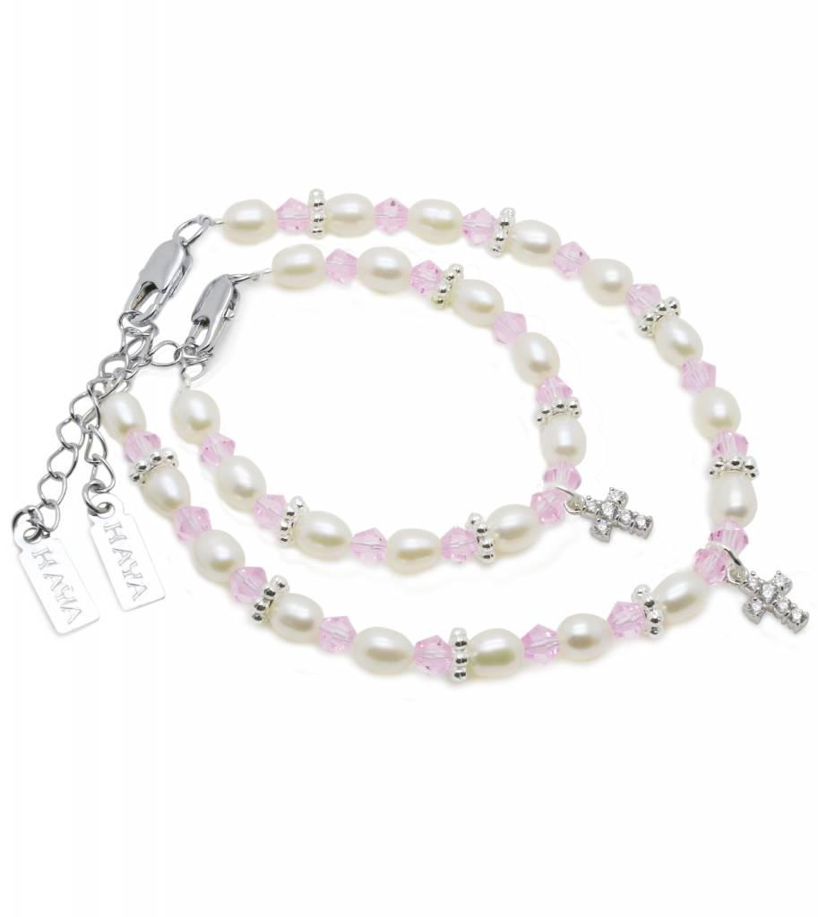KAYA jewellery Beautiful Mum & Me Christening Bracelet 'Infinity Pink' with Cross Charm