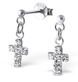 KAYA jewellery Silver cross Ear Studs with Crystal
