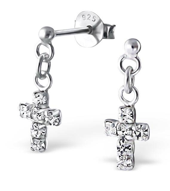 silver jewellery Silver cross Ear Studs with Crystal
