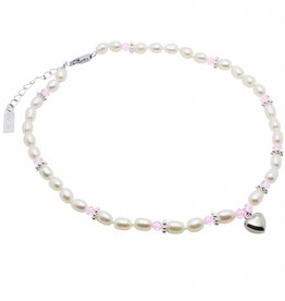 Infinity Pearl Necklace 'Infinity Pink' with Heart