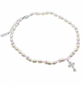 Infinity First Communion Necklace 'Infinity Pink' with Cross