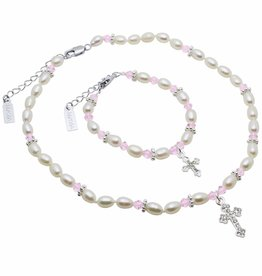 Infinity Communion Jewellery Set 'Infinity Pink' with Big Cross