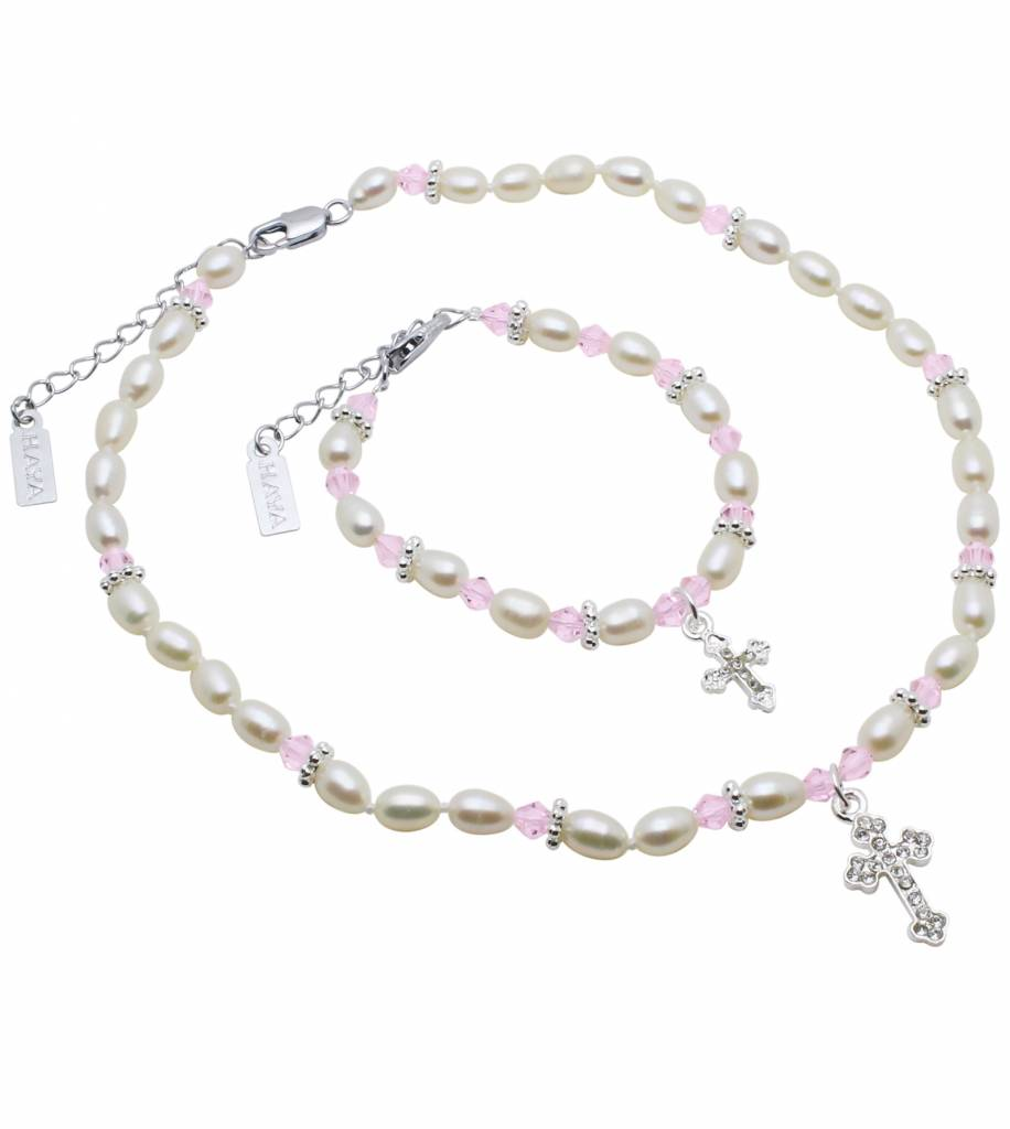 Infinity Pearl Necklace & Bracelet 'Infinity Pink' with Big Cross Charm for Holy Communion