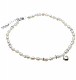 Infinity Pearl Necklace 'Infinity White' with Heart