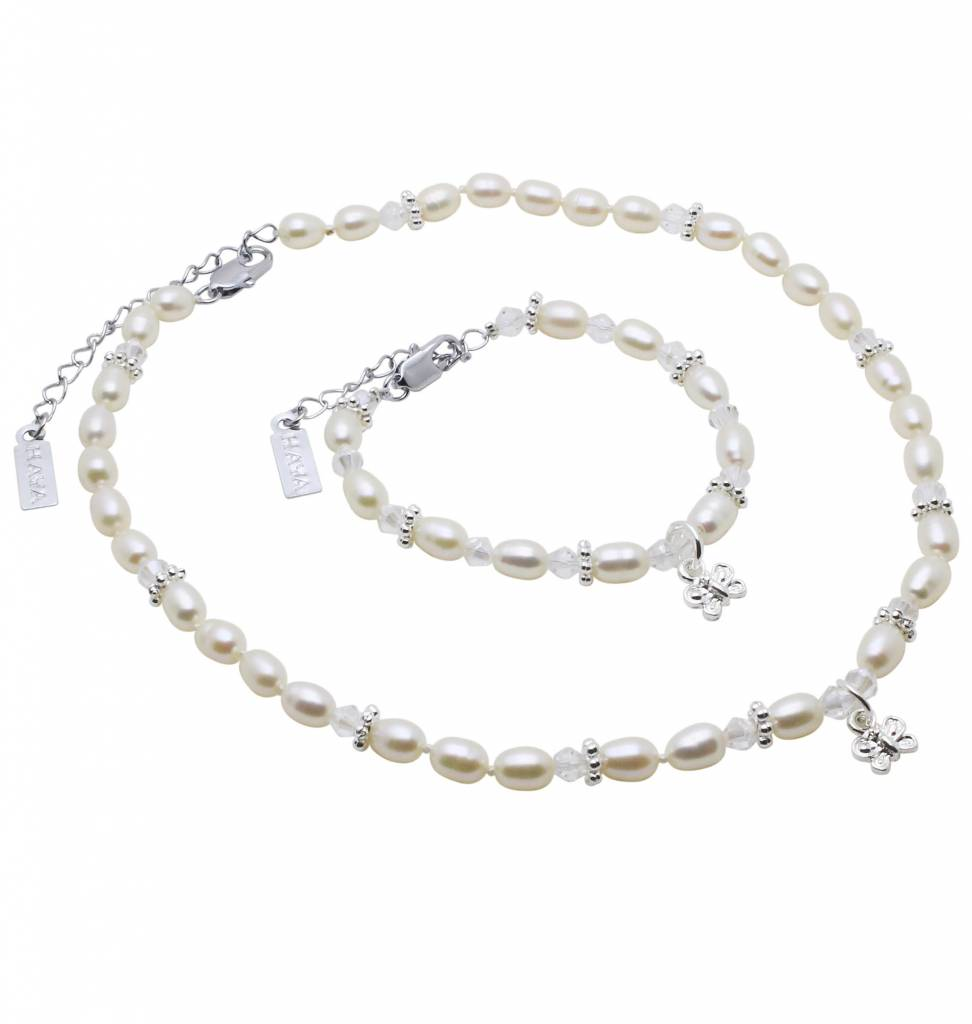 KAYA jewellery Girls Necklace & Bracelet Set 'Infinity White' with Butterfly