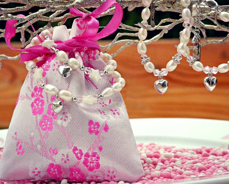 Star Pearl Necklace 'Star Pink' with Heart