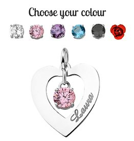 KAYA jewellery Silver Names4ever Engraved Heart Pendant 'Love you always'