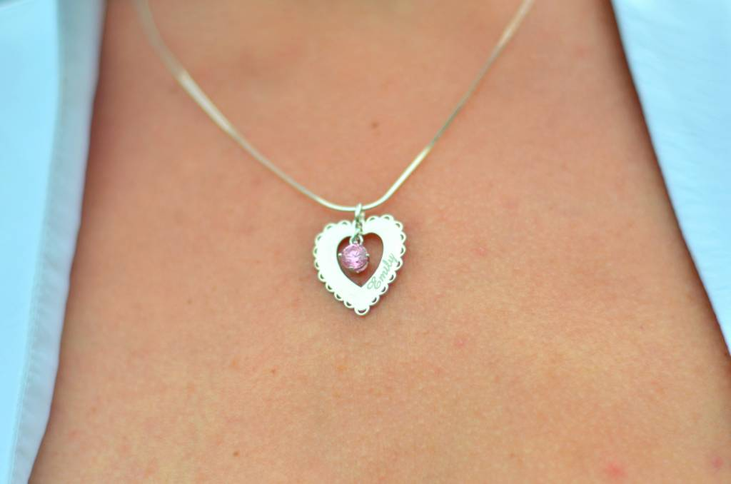 Engraved jewellery Silver Engraved Heart Pendant 'Love you always'