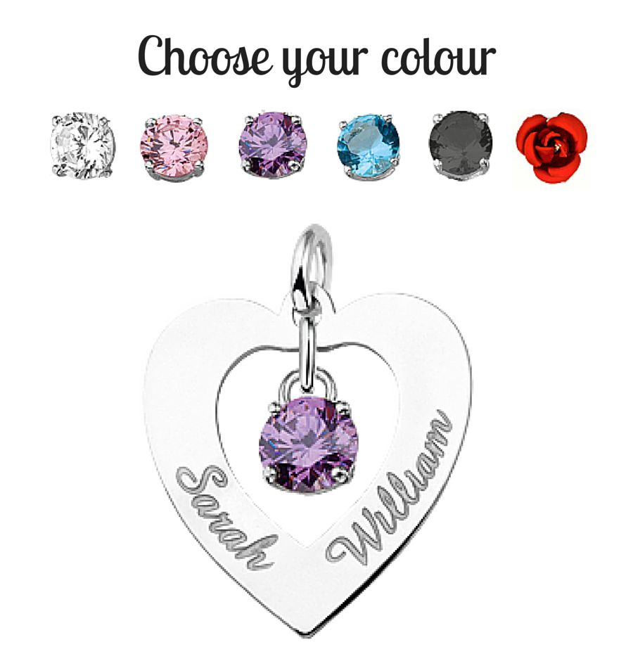 KAYA jewellery Silver Engraved Heart Pendant 'Love you both'