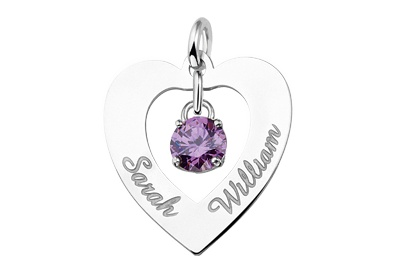 Engraved jewellery Silver Engraved Heart Pendant 'Love you both'