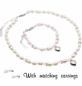 Infinity Girls Jewellery Set with earrings 'Infinity Pink' with Heart