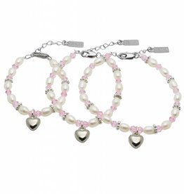 silver jewellery 3 Generations Bracelet 'Infinity Pink' with Heart