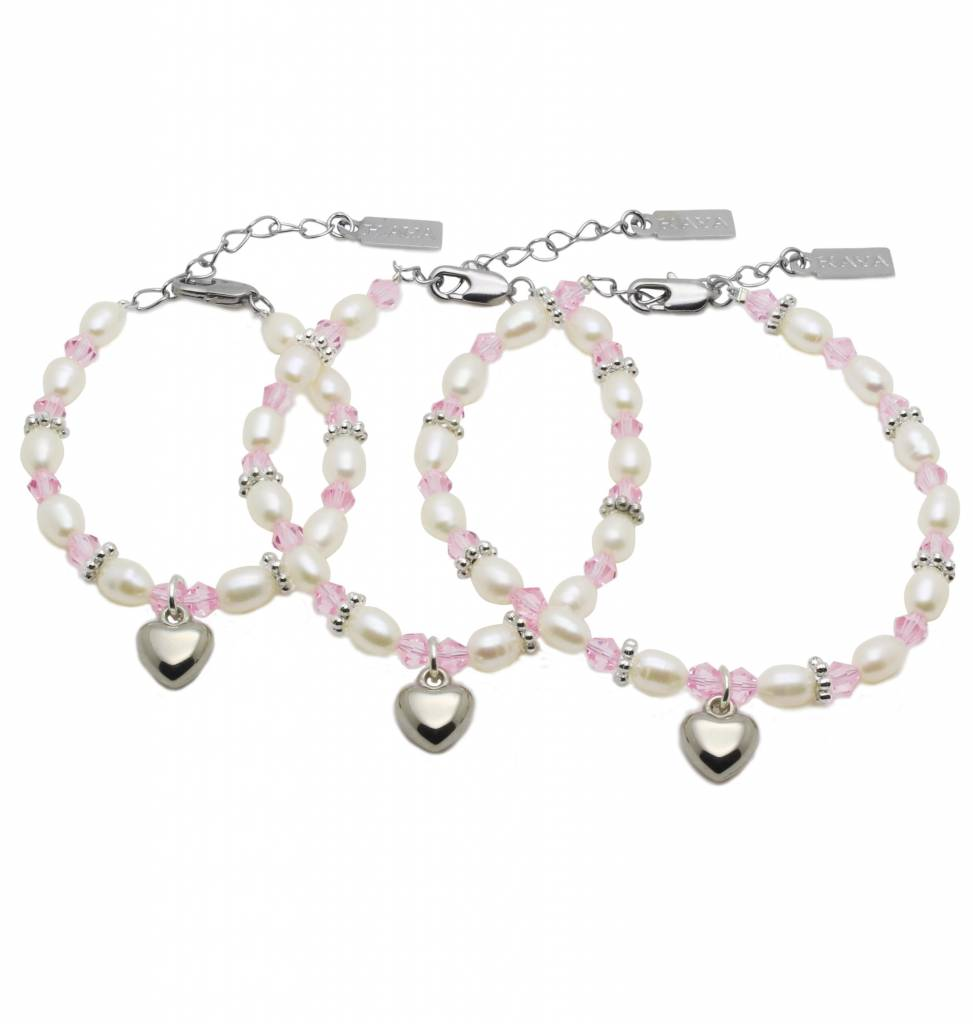 KAYA jewellery 3 Generations Bracelet 'Infinity Pink' with Heart Charm