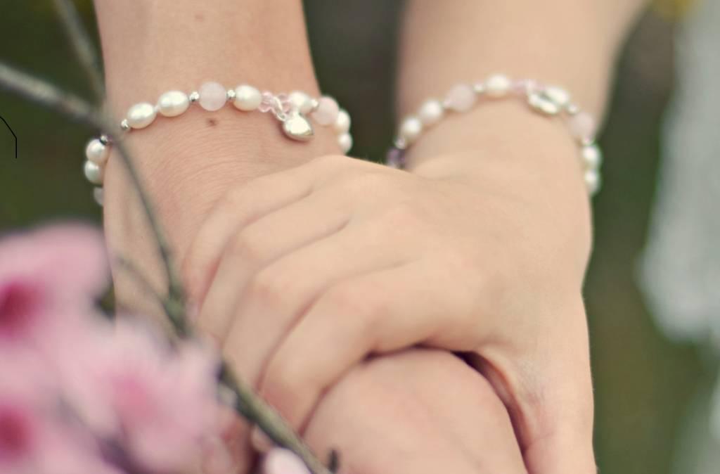 Bubbles (silver) Silver Girls Bracelet 'Bubbles' Crystal Cross
