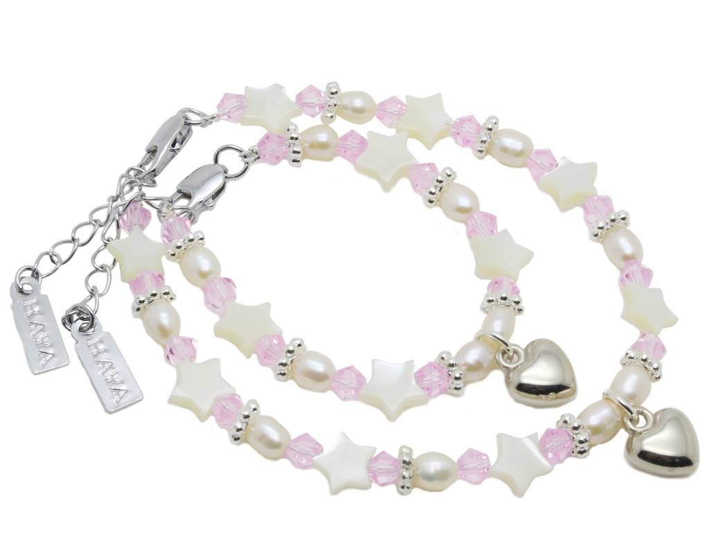 KAYA jewellery Girls Bracelet 'Star Pink' with Heart Charm