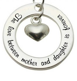 Words of Love (silver) Silver Pendant 'The love between Mother...' with Heart
