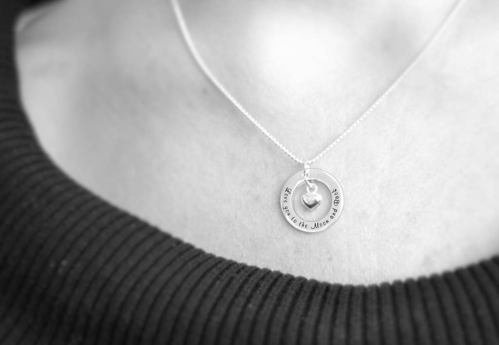 Words of Love (silver) Silver Pendant 'Love you to the Moon...' with Crescent Moon
