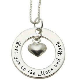 Words of Love (silver) Silver Necklace 'love you to the Moon & Back'