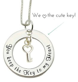 Words of Love (silver) Silver Necklace 'You keep the Key to my Heart'