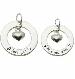 Words of Love (silver) 2 Silver Pendants 'I love you ♡ - I love you more ♡'