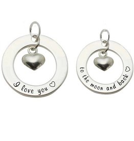 Words of Love (silver) 2 Silver Pendants 'I love you ♡ - to the moon & back ♡'