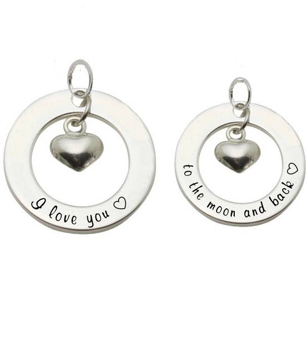KAYA jewellery Two Silver Pendants 'I love you ♡' - 'to the moon & back ♡'