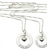 Words of Love (silver) Two Silver Pendants 'I love you ♡' - 'to the moon & back ♡'