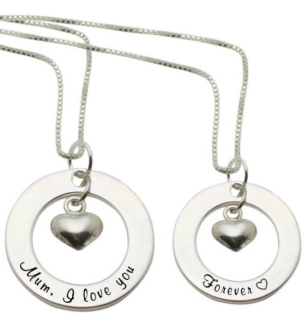 KAYA jewellery Two Silver Necklaces 'Mum, I love you' & 'Forever ♡'