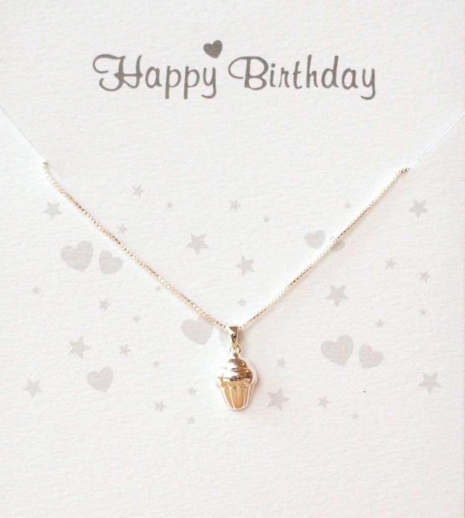 KAYA jewellery Jewellery Card 'Happy Birthday' silver cupcake