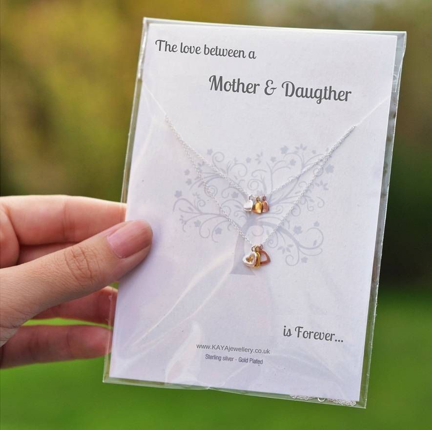 Jewellery Card Jewellery Card mother & daughter 'Double Heart'