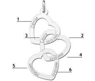 Engraved jewellery Silver Pendant 'Forever Love' for 3 engraved names
