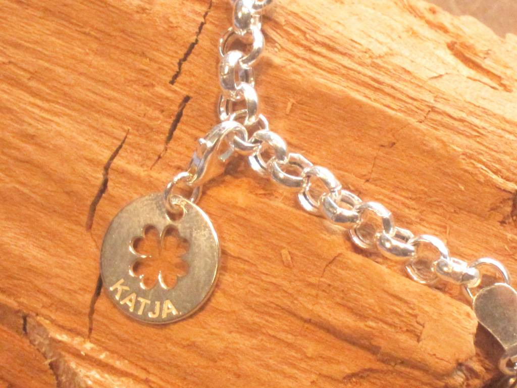 Engraved jewellery Silver Charm Bracelet with 1 engraved Charm