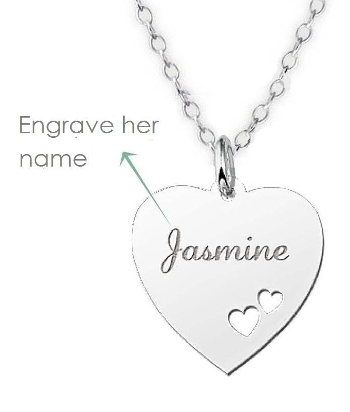 Engraved jewellery Silver Engraved Heart Name Necklace
