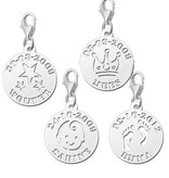 KAYA jewellery Silver Round Charm Name and Date