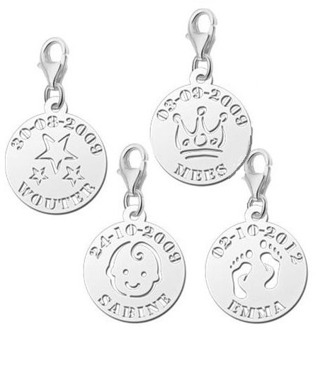 Engraved jewellery Silver Round Charm Name and Date