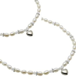 Infinity Mum & Me Pearl Necklace 'Infinity White' with Heart