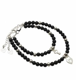 KAYA jewellery Silver Mum & Me Bracelets 'Black Onyx' Key to my Heart