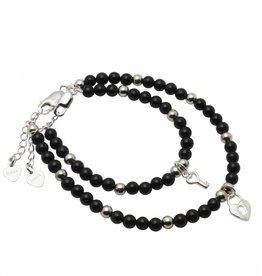 Onyx (silver) Silver Mum & Me Bracelets 'Black Onyx' Key to my Heart