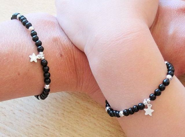 KAYA jewellery Silver Mum & Me Bracelet 'Black Onyx' Key to my Heart