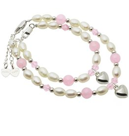 KAYA jewellery Mum & Me Bracelets 'Pink Bubbles' Heart charms