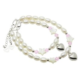 KAYA jewellery Mum & Me Silver Bracelets 'Midnight Star' with Heart