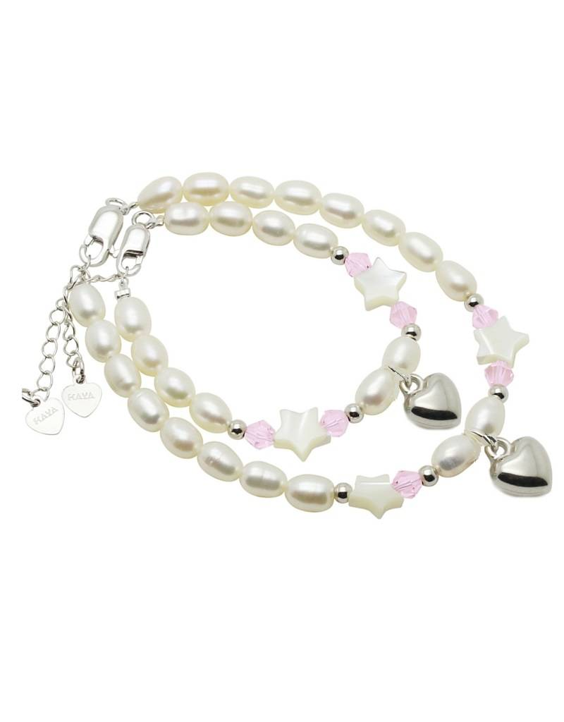 KAYA jewellery Mum & Me Silver Bracelet 'Midnight Star' with Heart