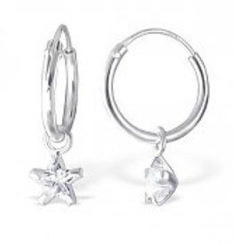 KAYA jewellery Sterling Silver Star Hoop Earrings 12mm