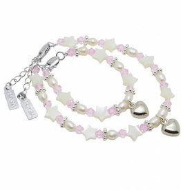 Star Mum & Me Bracelet 'Star Pink' with Heart