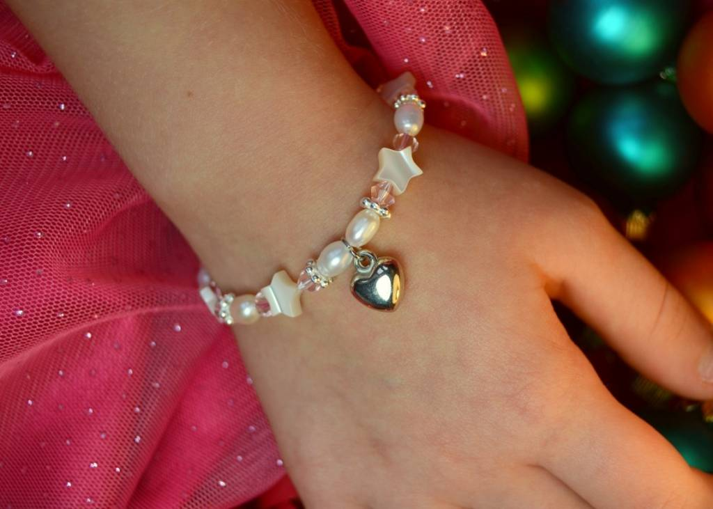 KAYA jewellery Beautiful Mum & Me Bracelet 'Star Pink' with Heart Charm