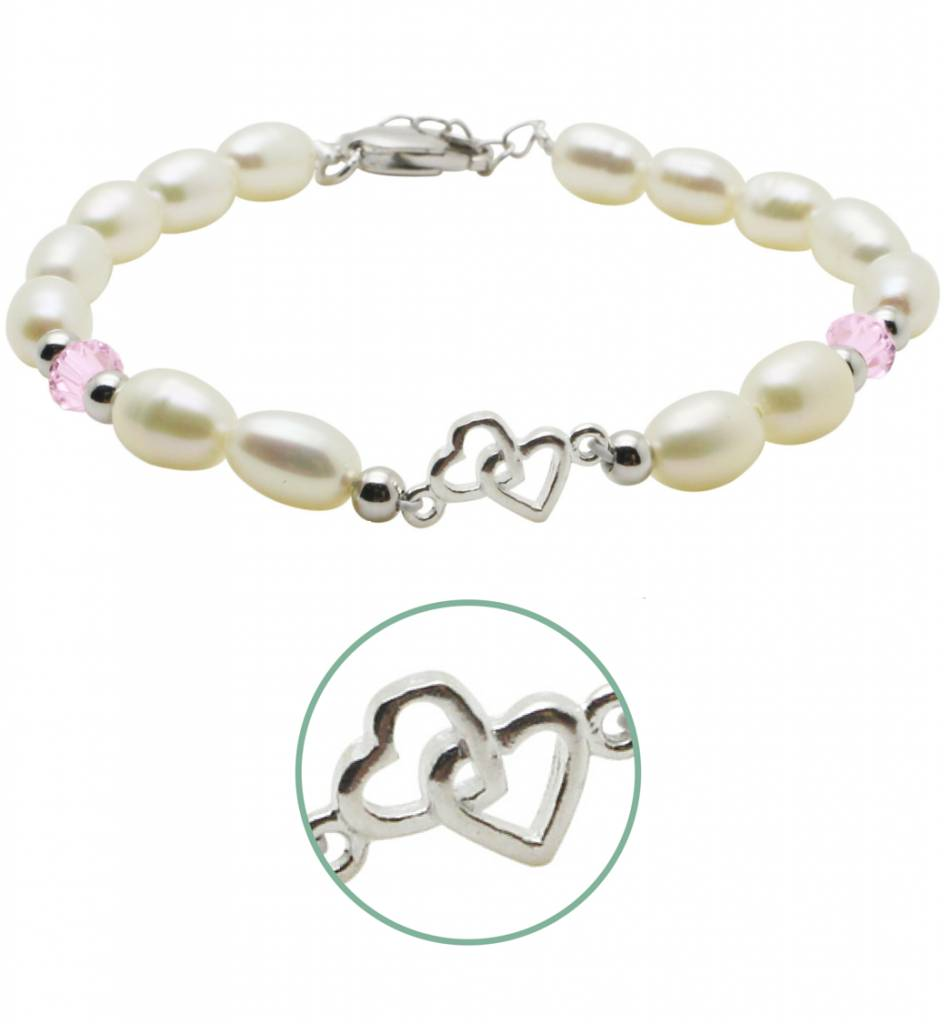 silver jewellery Silver Pearl Bracelet 'You & Me forever'