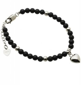 silver jewellery Silver Bracelet 'Black Onyx' with Heart