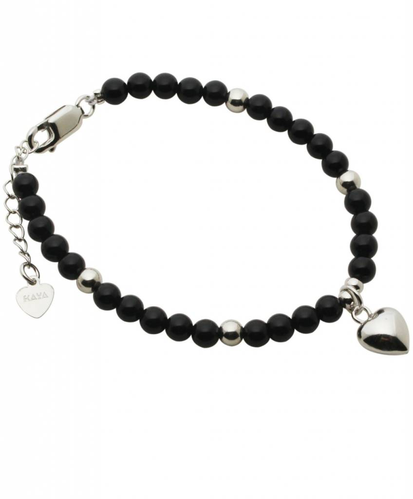 KAYA jewellery Silver Bracelet 'Black Onyx' with Heart